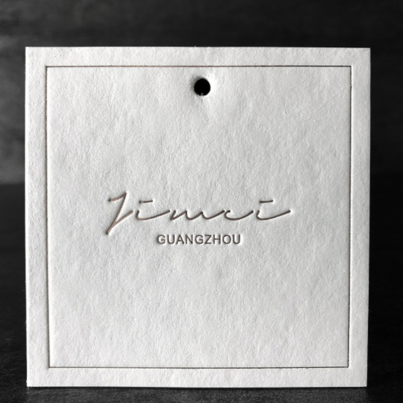 Custom Hang Tag Embossing Printing Clothing Custom Tags Square 6.4x6.4cm High Upscale Label Swing Tags Garment Label