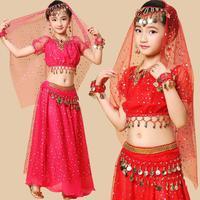 Children S Belly Dance Girl Dance Costume Suit Wholesale India Xinjiang National Wear Short Sleeved Dress