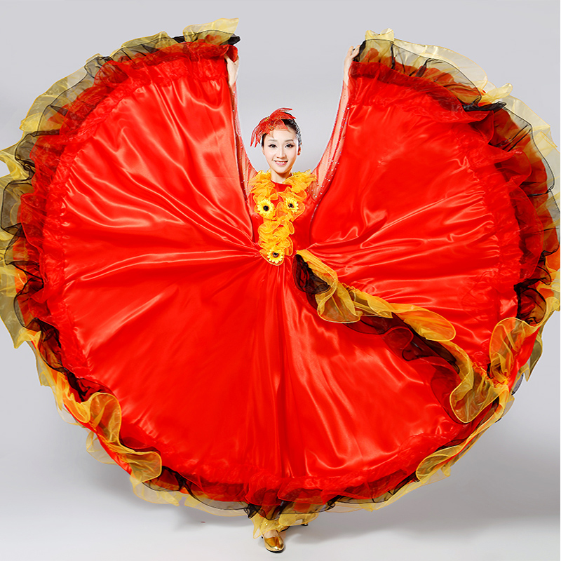 New Opening Dance Costume Female Spanish Big Swing Dress Stage Performance Clothing Dancing National Costume Adult Suit H554