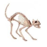 Skeleton Cat 100% Plastic Animal Skeleton Bones for Scary Halloween Decoration