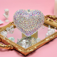 RADISH Evening Clutch Bags Heart Hardcase Metal Clutches Women Mini Shoulder Bag Wedding Party Bridal