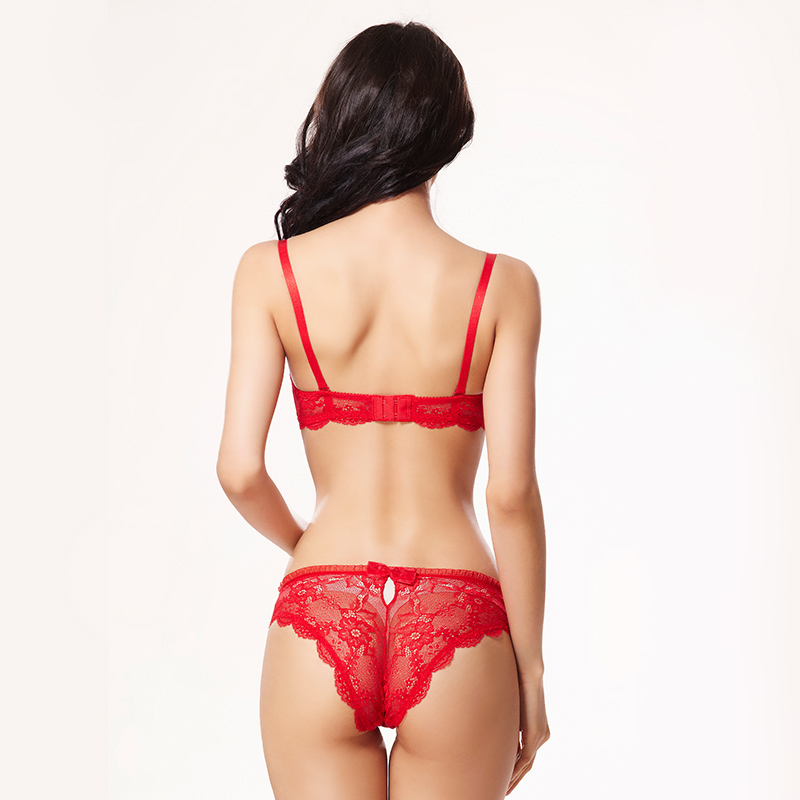 Image 3 - Balaloum Women Sexy Floral Lace Hollow Out Push Up Bra Brief Sets Brassiere Panty Set Seamless Soft Underwear Female LingerieBra & Brief Sets   -
