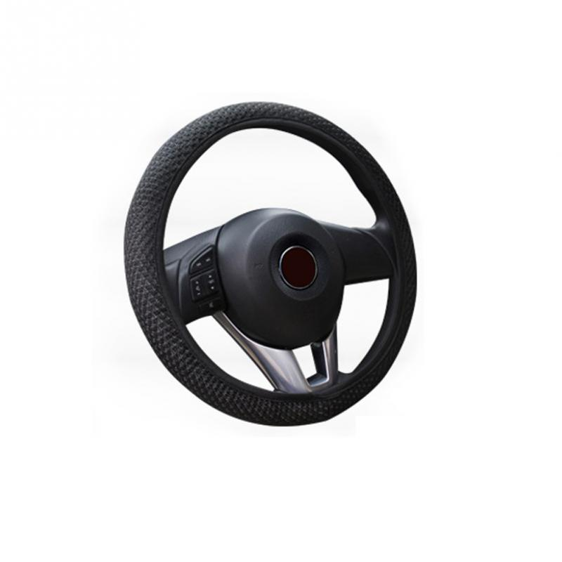 Car Auto 36/38cm Universal leather Elastic Handmade Skidproof Steering Wheel Cover ...