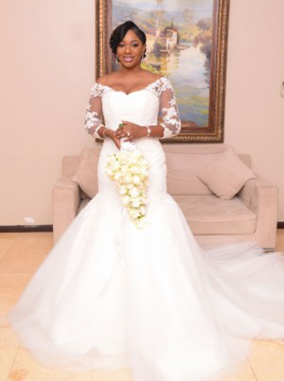 2016 sirène manches longues cour dentelle africaine Train taille des robes de mariage élégant robe de