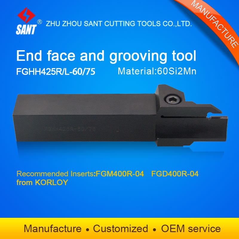 Zhuzhou Sant cnc cutting tools Grooving tool holder FGHH425R-60/75 with Korloy inserts FGM400R-04 selling hot in abroadZhuzhou Sant cnc cutting tools Grooving tool holder FGHH425R-60/75 with Korloy inserts FGM400R-04 selling hot in abroad