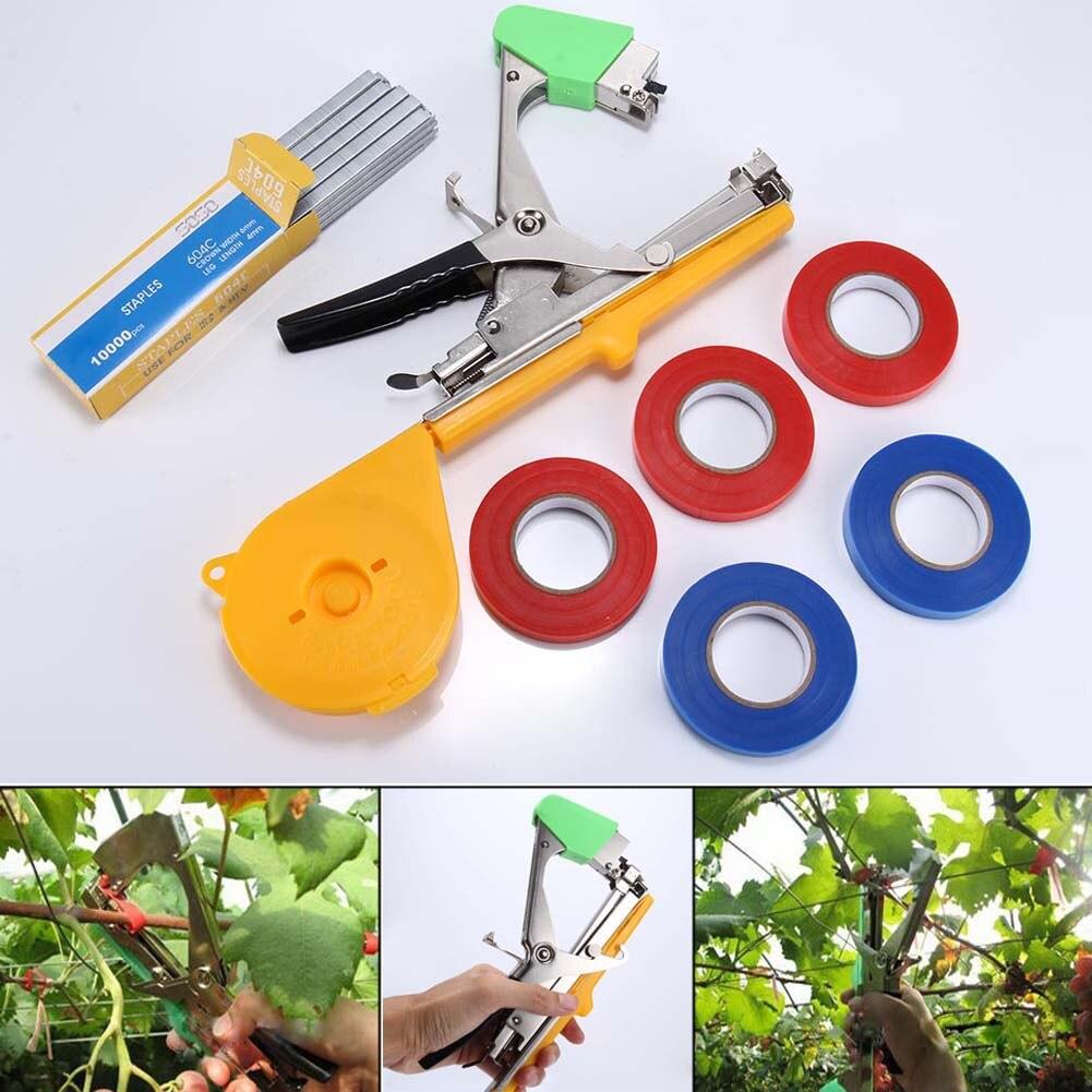 1 Set Pflanze Zweig Hand Binden Heftklammern + Tapener + TapesBinding Maschine Blume Gemüse Garten Werkzeuge ALI88