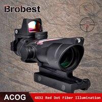 ACOG 4x32 красный Оптическое волокно Сфера с мини красная точка зрения Тактические страйкбол прицел Охота прицел AO1003