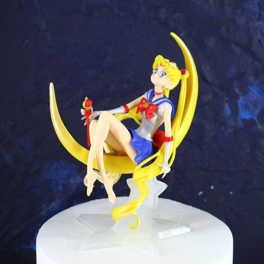 Aspiring 12*15cm Pvc Sailor Moon Action Figure Cake Tsukino Usagi Decoration Girl Collection Model Toy Doll Gifts For Birthday 2a056 Delicious In Taste Action & Toy Figures