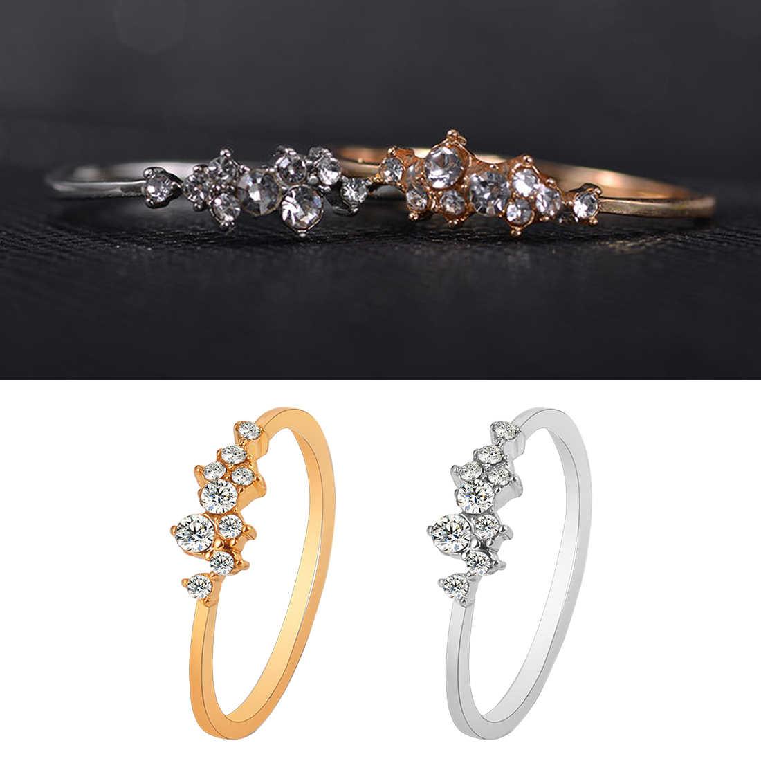 Perhiasan Berlian Imitasi Kristal Opal Cincin Ukuran Yang Berbeda Hot Sale Dilapisi Sembilan Cincin Elegan Fashion Wanita Cincin
