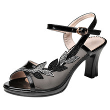 New Black Ankle Strap Spike High Heel Women Sandal Shoes Rhinestone Shoes Sweet Open Toe Summer Sandals 2019 YG-A0319