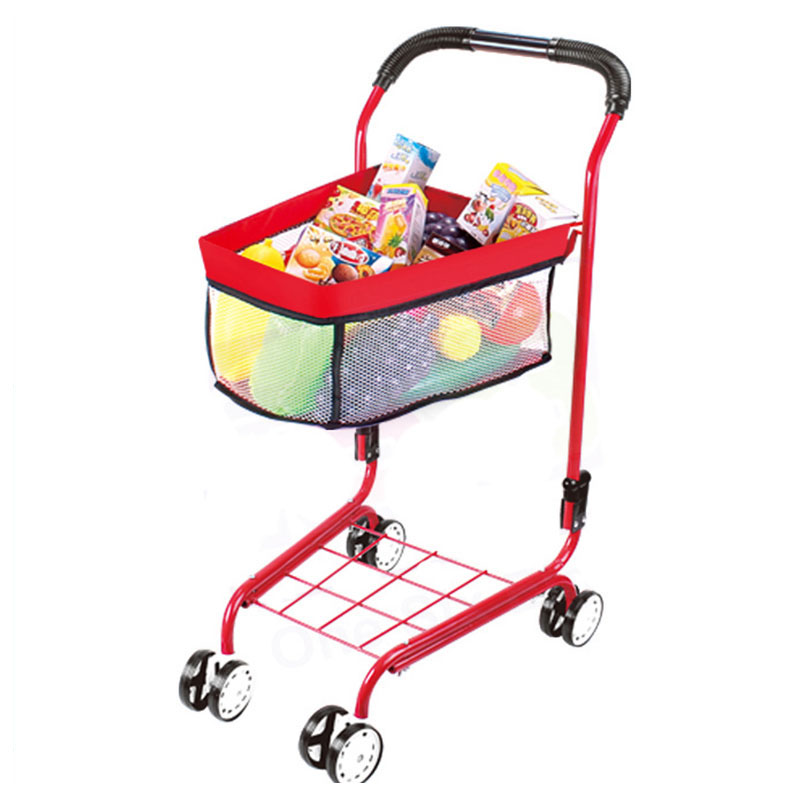 Enfants jouent Simulation supermarché panier bébé garçons filles poussette panier semblant jouer jouets quatre roues poussette chariot