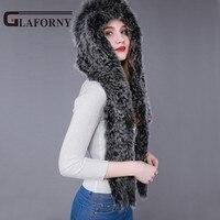 Glaforny 2018 Genuine Knitted Fox Fur Scarf Hat Women Winter Fashion Casual Knit Hooded Cap Russian Style Warm Fur Beanies