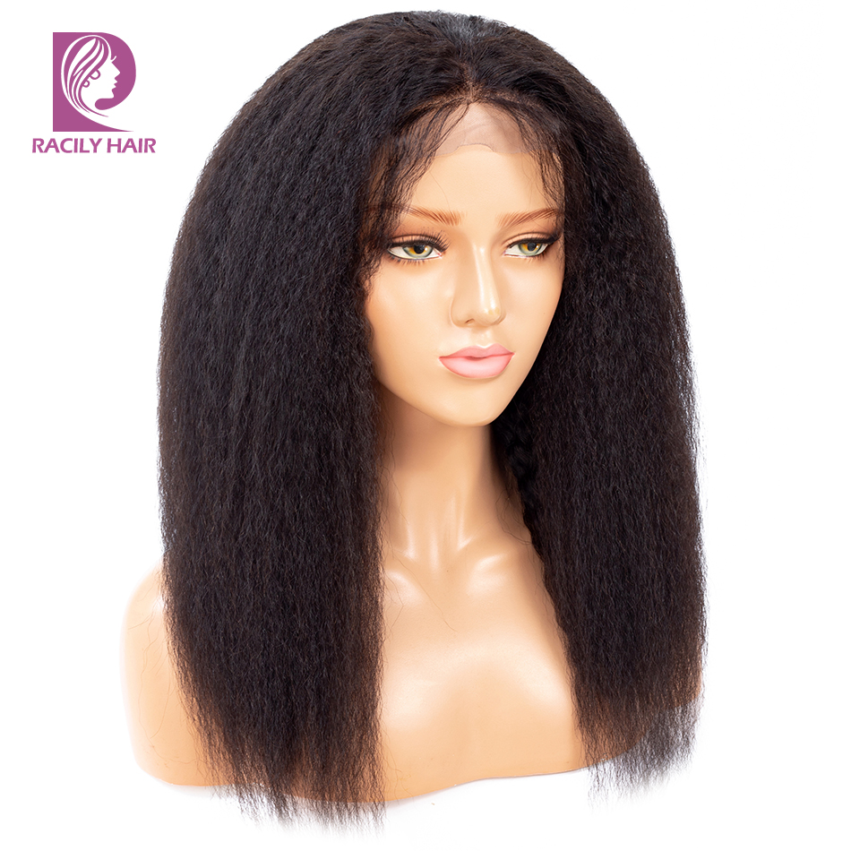 Racily Hair Kinky Straight Lace Closure Wig Lace Front Human Hair Wigs For Black Women Remy