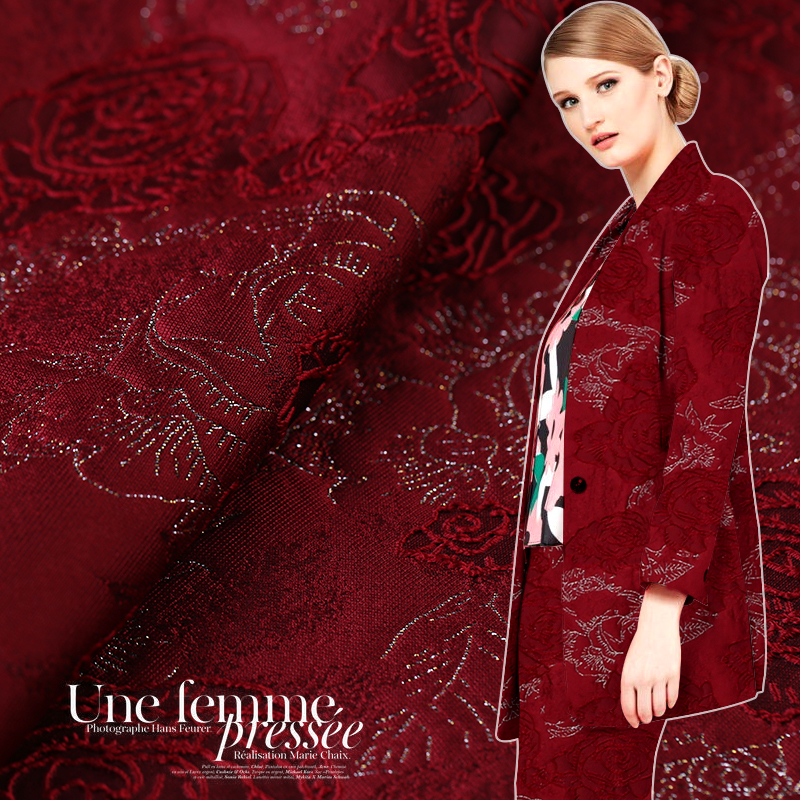 Custom 145cm wide three-dimensional jacquard <font><b>gold</b></font> thread fashion fabric <font><b>rose</b></font> jacquard <font><b>gold</b></font> high-grade coat cape <font><b>skirt</b></font> fabric image