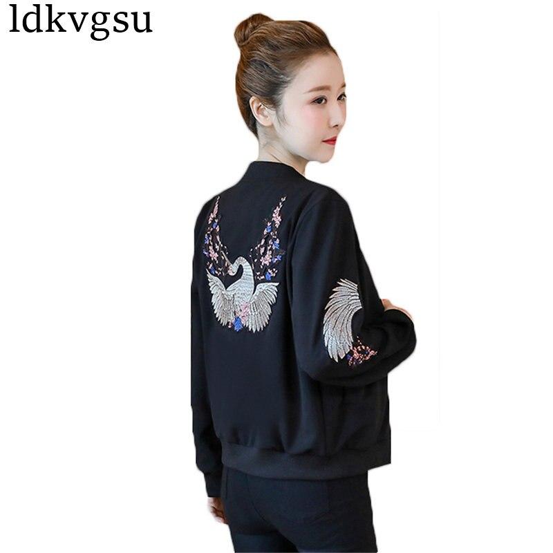 2018 New Short Thin Coats Lady Spring Autumn Korean Wave Baseball Uniform Embroidery Wild   Basic     Jacket   Women Tops Outerwear A552