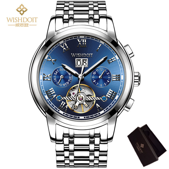 WISHDOIT Mechanical Watches Mens Skeleton Tourbillon Automatic Men's Watch Pilot Military Sport Wristwatch Relogio Masculino relogio masculino binkada skeleton mens automatic mechanical watches men military sport luminous watch male clock wristwatch