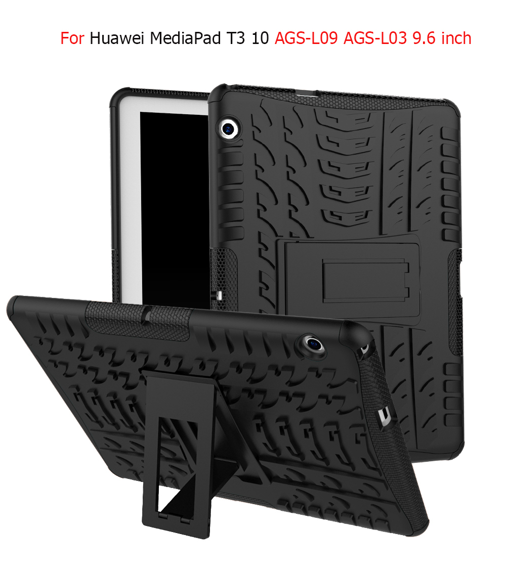 Dazzle Heavy Duty Impact Hybrid Armor Kick stand Hard case For Huawei MediaPad T3 10 AGS-L09 AGS-L03 9.6 inch child Stand cover case for huawei honor 7x shockproof with stand 360 rotation back cover contrast color hard pc