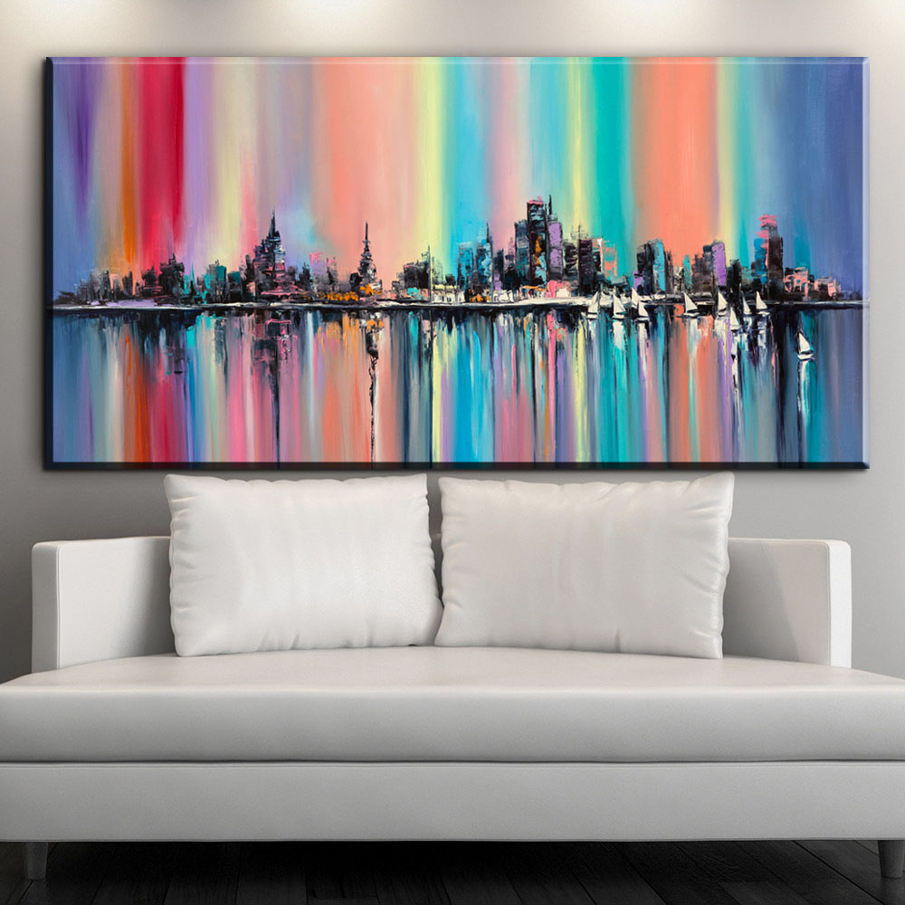 Zz1906 Modern Abstract Oil Painting On Canvas Bright Multi Color