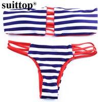 Suittop Swimwear Two Piece Reversible Printed Bikinis Cut Out Padding Swimsuits Vintage Bathing Suits Women Brazilian