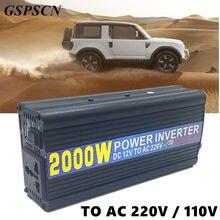 GSPSCN Car Power Inverter DC 12 V AC 220 V/110 V 2000 W Power Inverter Adapter Converter Samochodów Ładowarka Podróżna wysokiej konwersji
