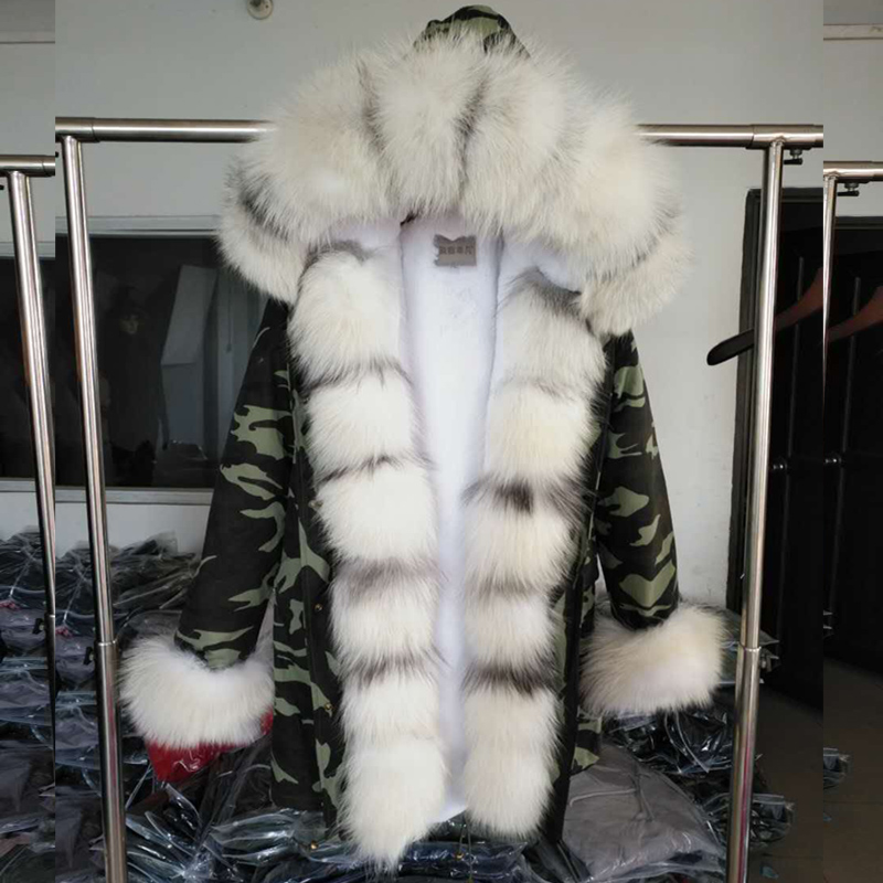 MaoMaoKong Winter new Women fur coat Parka fox fur good faux fur Liner long military coat Female fashion Real fur Coat 2017 winter new clothes to overcome the coat of women in the long reed rabbit hair fur fur coat fox raccoon fur collar