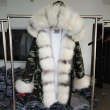 MaoMaoKong Winter neue Frauen pelzmantel Parka fuchspelz gute faux pelz Liner lange militärische mantel Weibliche mode echtpelz mantel