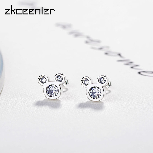 Dropshipping Trendy Silver Color Stud Earrings Dazzling Micky Mouse Charm Pandora  Earrings for Women Girls Wedding Gift Jewelry