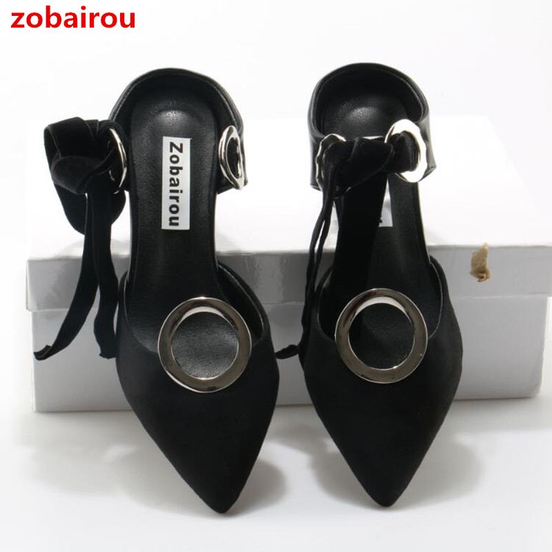 Zobairou Black Patchwork Eyelet Ribbon Heels Pumps Fashion Front-tie Block Heel Pointed Toe Grommet Leather Mules Shoes Women pu pointed toe flats with eyelet strap