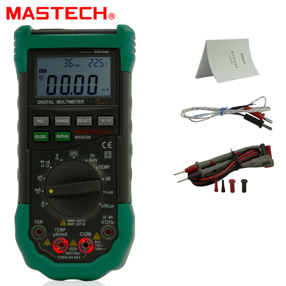 5 in 1 Mastech MS8229 Auto range Digital Multimeter Multifunction Lux Sound Level Temperature Humidity Tester Meter 1 pcs mastech ms8269 digital auto ranging multimeter dmm test capacitance frequency worldwide store