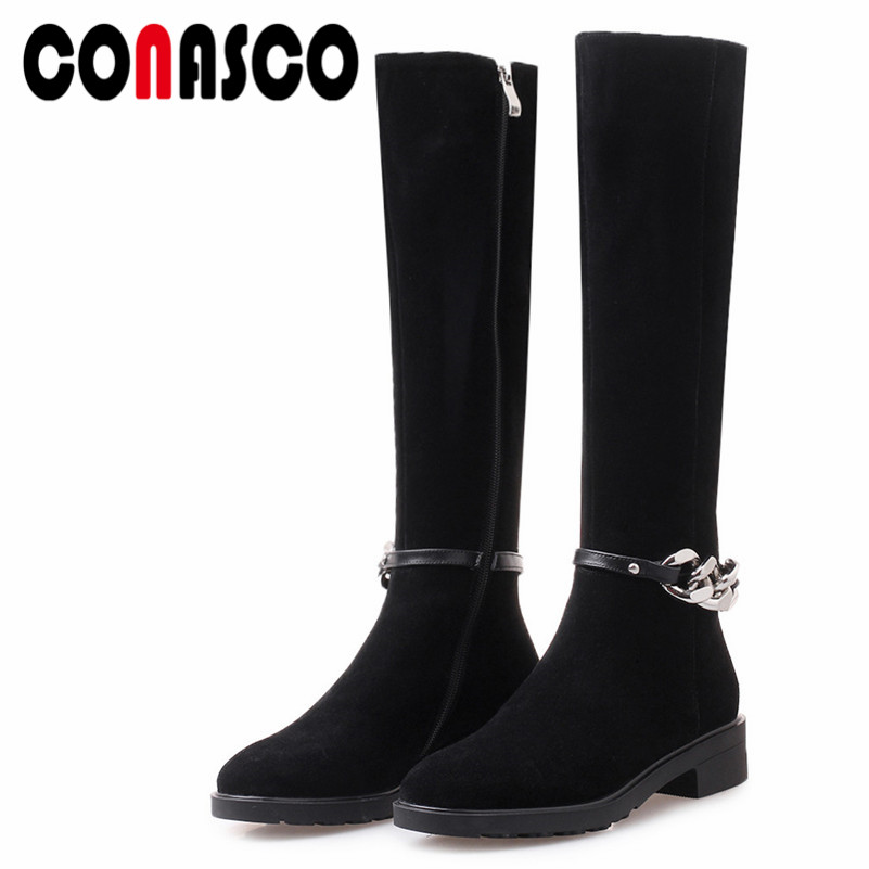 CONASCO Fashion Women Knee High Boots Autumn Winter Warm Square High Heels Shoes Chain Metal Decoration Cow Suede Shoes WomanCONASCO Fashion Women Knee High Boots Autumn Winter Warm Square High Heels Shoes Chain Metal Decoration Cow Suede Shoes Woman