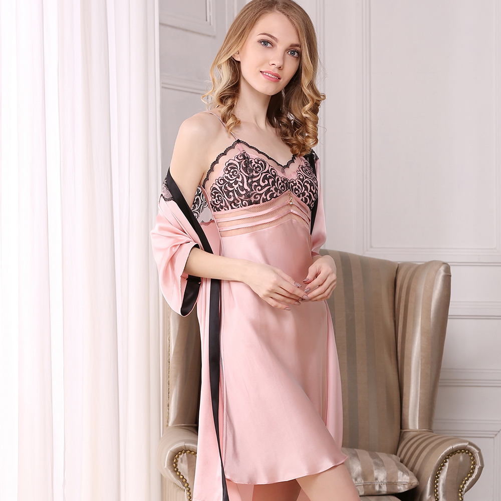 Genuine Silk Robes Set Nightgowns Female Black Sexy 100% Silk Sleepwear Women Elegant Sling Sleeping Dress Bathrobe Two-Piece