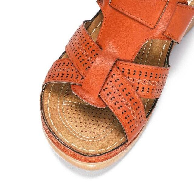 Frauen Sommer Offene spitze Bequeme Sandalen Super Soft Premium Orthopädische Low Heels Walking Sandalen Drop Verschiffen Toe Corrector Cusion