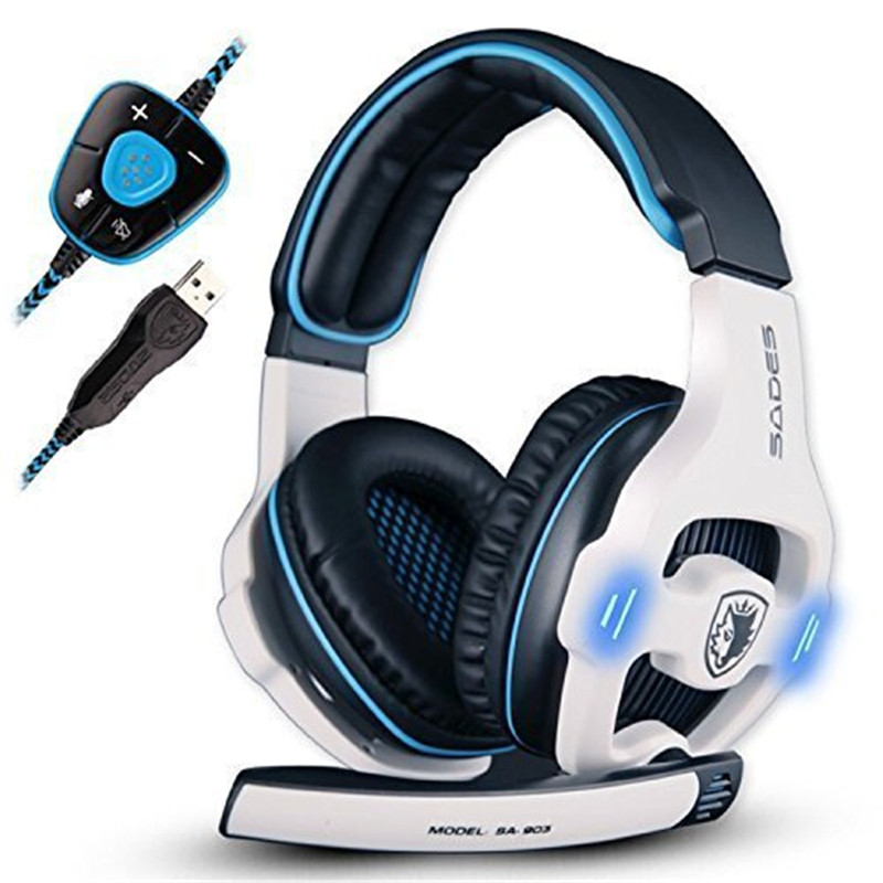 SADES SA903 7.1 Surround Sound Pro USB PC Stereo Noise-Canceling Gaming Headset with High Sensitivity Mic Volume Blue LED lighti  sades sa 903 7 1 surround sound over ear pc headset gaming headphone usb game earphone with mic volume led lighting for computer