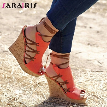 SARAIRIS Brand Design Big Size 35-47 ankle-wrap Sandals Woman Shoes High Heels Gladiator Party Wedges Shoes Woman