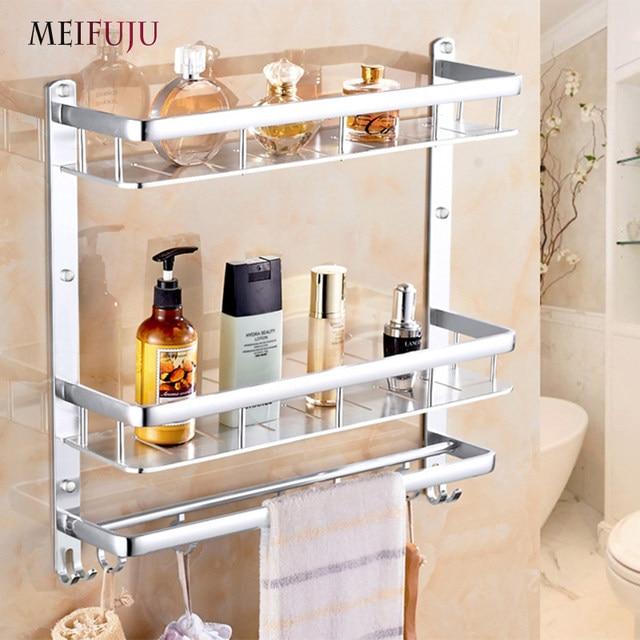 Meifuju New Aluminum Bathroom Shelf Black Gold Shelves Rack With Hooks Single Dual Tier Wall Mounted Corner