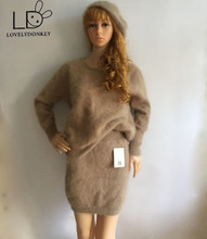 LOVELYDONKEY mink cashmere womenpullovers sweater bag hip skirt suit free shipping M700