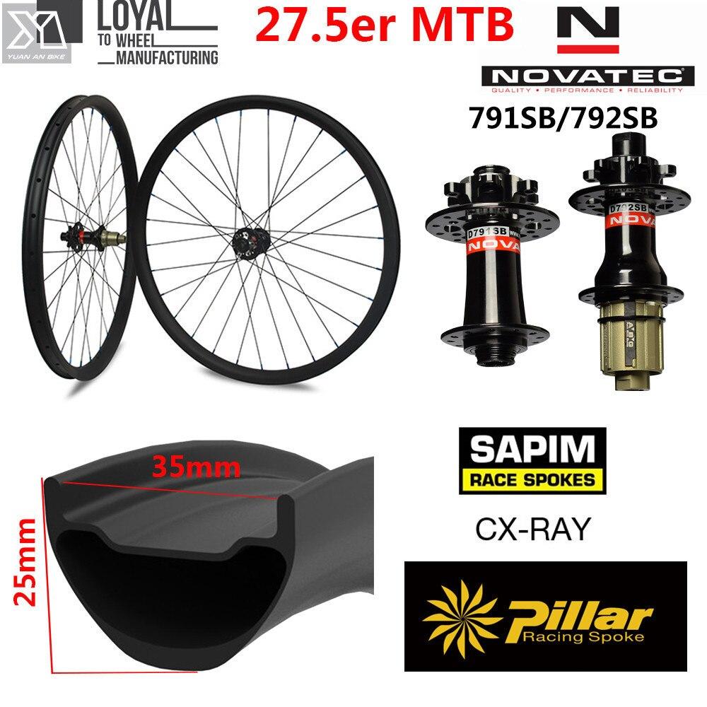 650B Carbon MTB Bike Wheelset 35mm Width 25mm Depth 27.5er Mountain Bike Wheels with NOVATEC D791/D792 Hub