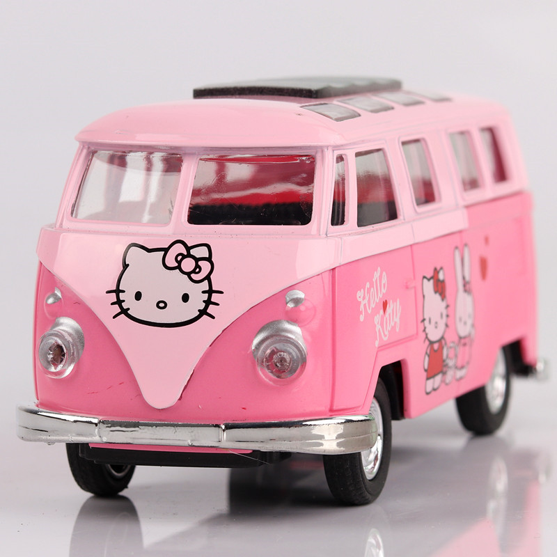 Hello kitty Public Bread Bus Sound And Light Back To Open The Car Girl Toy Car Model Indoor Ornaments Birthday Gift JSB168