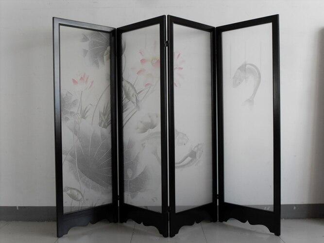 Ручная роспись шелковой живописи лотоса с рыбами/птицы для экрана без рамки ручная роспись много фотографий и фонов по желанию
