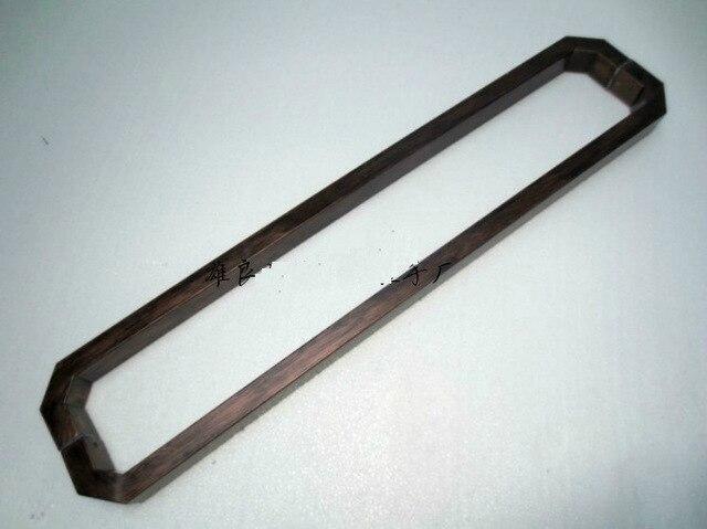 KTV verre/bois acier inoxydable 500mm poignées de porte finition laiton Antique