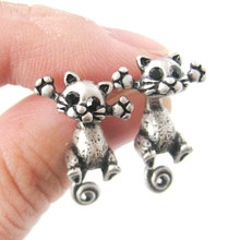 2016 New Unique Kitty Cute Cat Two Part Stud Earrings for Women Party Gift S-101