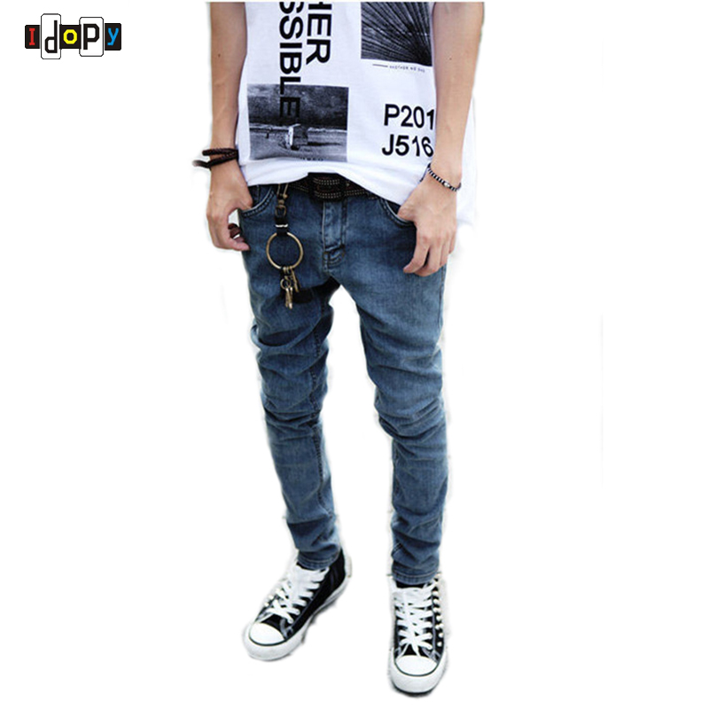 Fashion Young Men`s Korean Style Jeans Vintage Aged Blue Stone Washed Tight Skinny Jeans For Youth men s young men s jeans wholesale price