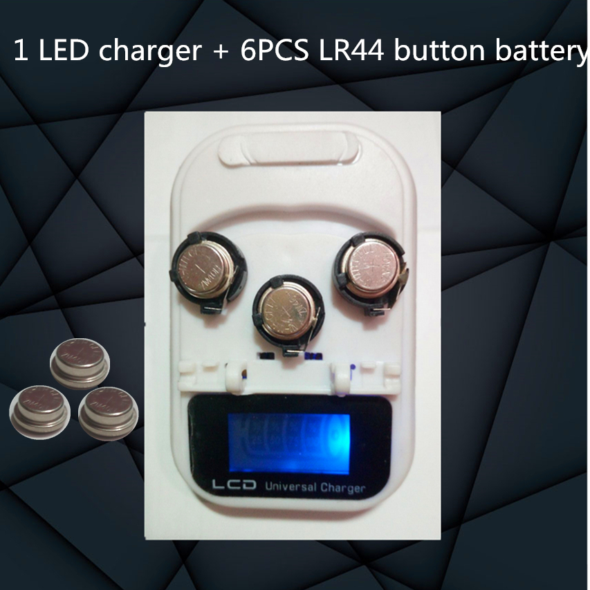 high quality!!! New 1 LED Charger + 6PCS LR44 Rechargeable Coin Cell Battery