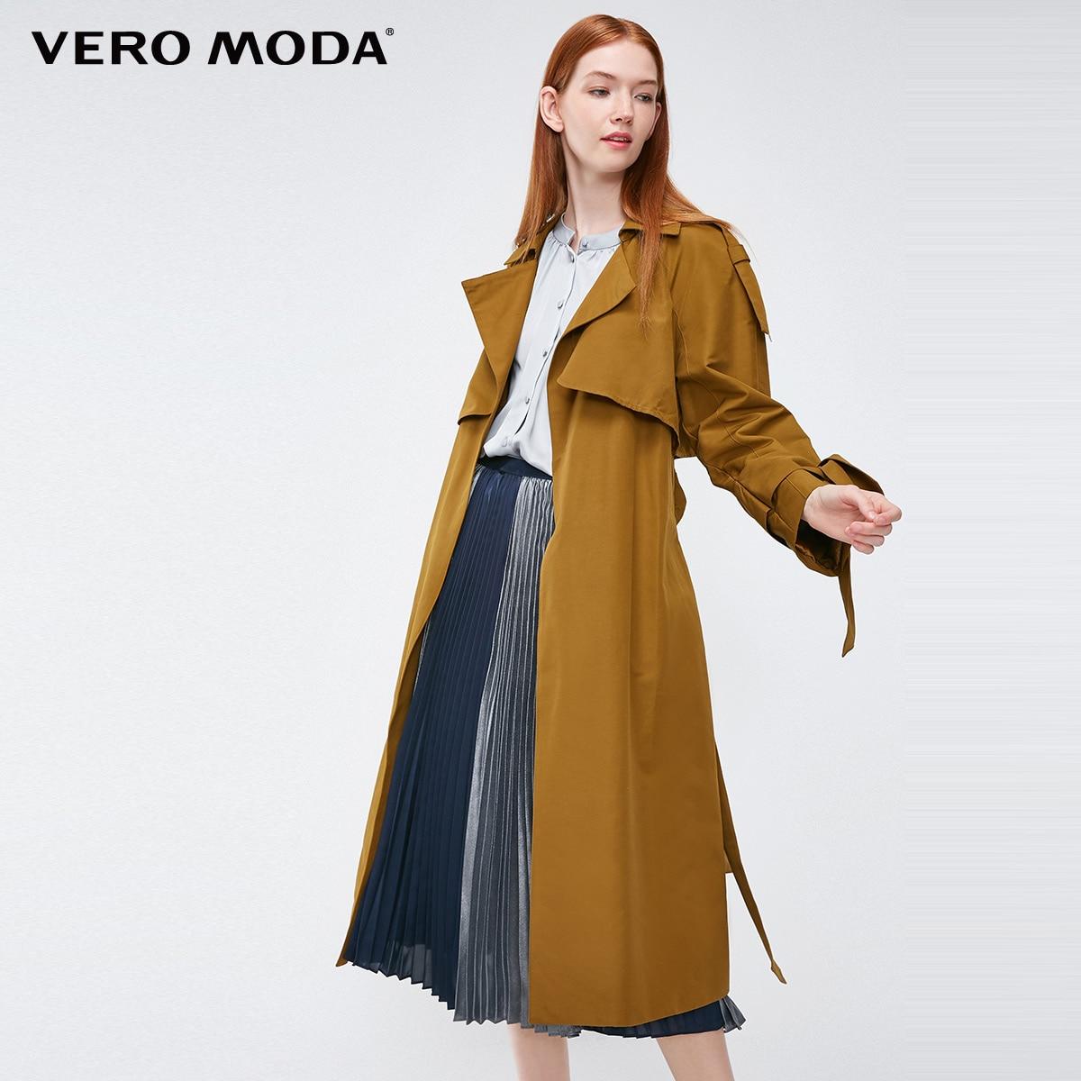 Vero moda 2019 novo pára-brisa design punhos decorados british longo trench coat | 318321508