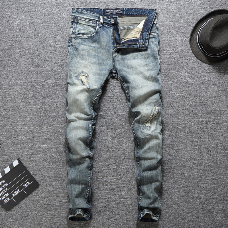 Spring Summer Fashion Streetwear Men Jeans Vintage Ripped Jeans For Men Elastic Skinny Fit Hip Hop Pants Classical Jeans homme in Jeans from Men 39 s Clothing