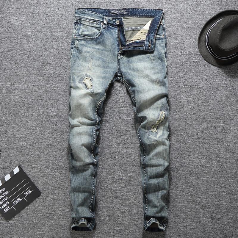 Spring Summer Fashion Streetwear Men Jeans Vintage Ripped Jeans For Men Elastic Skinny Fit Hip Hop Pants Classical Jeans Homme