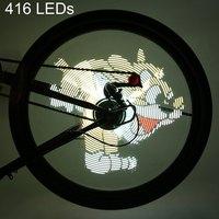 אופניים לתכנות אור וידאו Gif תמונה 416/256LED גלגל אופני Led דיבר אור עמיד למים שינוי צבעוני DIY CyclingLight