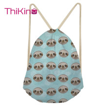 Thikin Cute Sloth Casual Sack Drawstring Bag for girls Women Travel Backpack Toddler Softback Lady Beach Mochila DrawString Bag