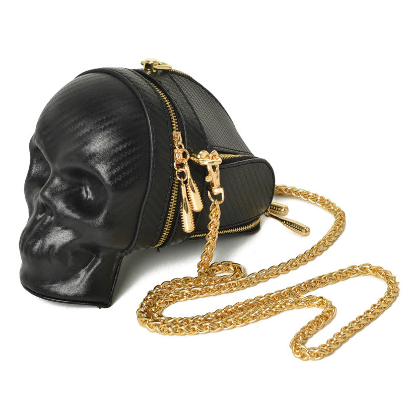 New Fashion Gothic Retro Rock  Skull Bag Halloween Women Messenger Bags Black And Gold Women Mobile Phone Shoulder Bags  1