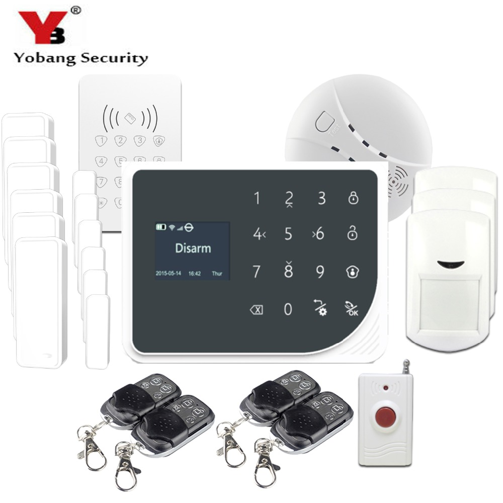 YoBang Security 433MHZ WIFI GSM Alarm System Touch Screen IOS Android APP Home Burglar Alarm System Smoke Fire Sensor Detector.